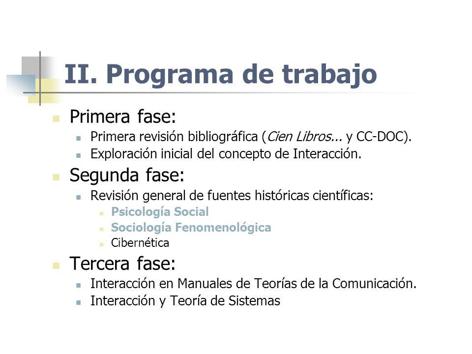 II. Programa de trabajo Primera fase: Segunda fase: Tercera fase: