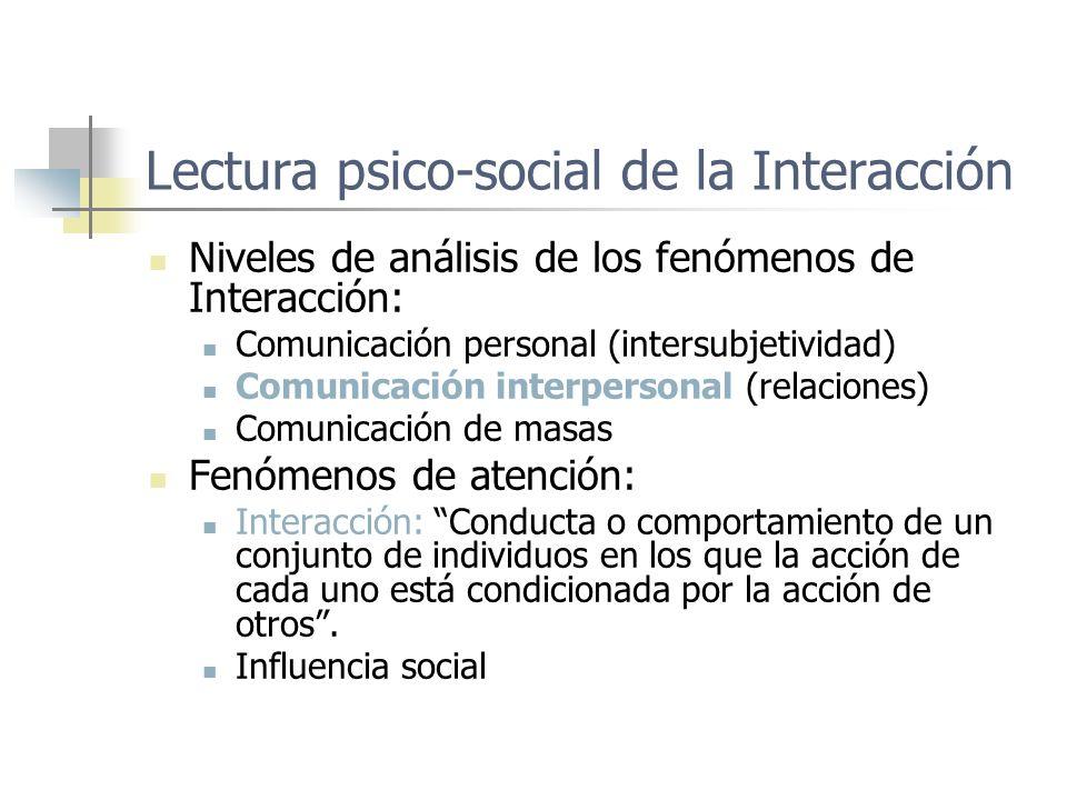 Lectura psico-social de la Interacción