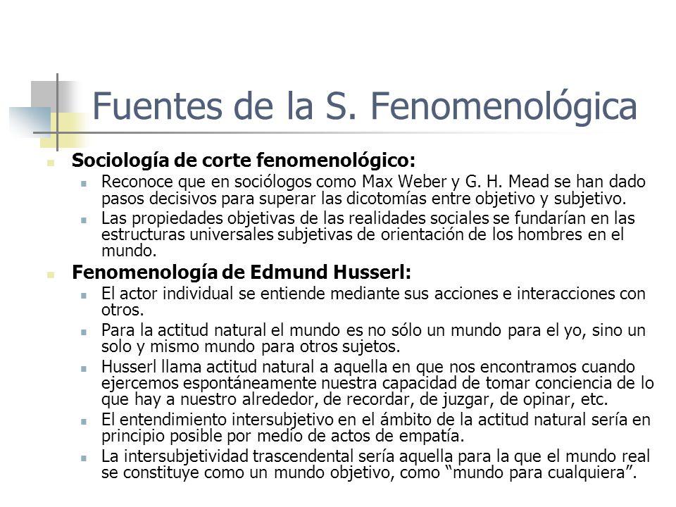 Fuentes de la S. Fenomenológica