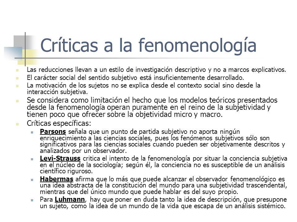 Críticas a la fenomenología