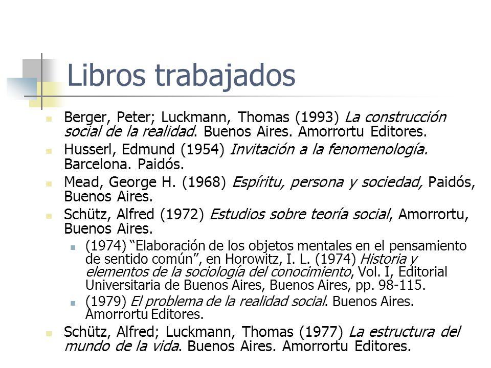 Libros trabajados Berger, Peter; Luckmann, Thomas (1993) La construcción social de la realidad. Buenos Aires. Amorrortu Editores.