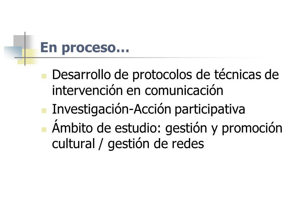 En proceso… Desarrollo de protocolos de técnicas de intervención en comunicación. Investigación-Acción participativa.