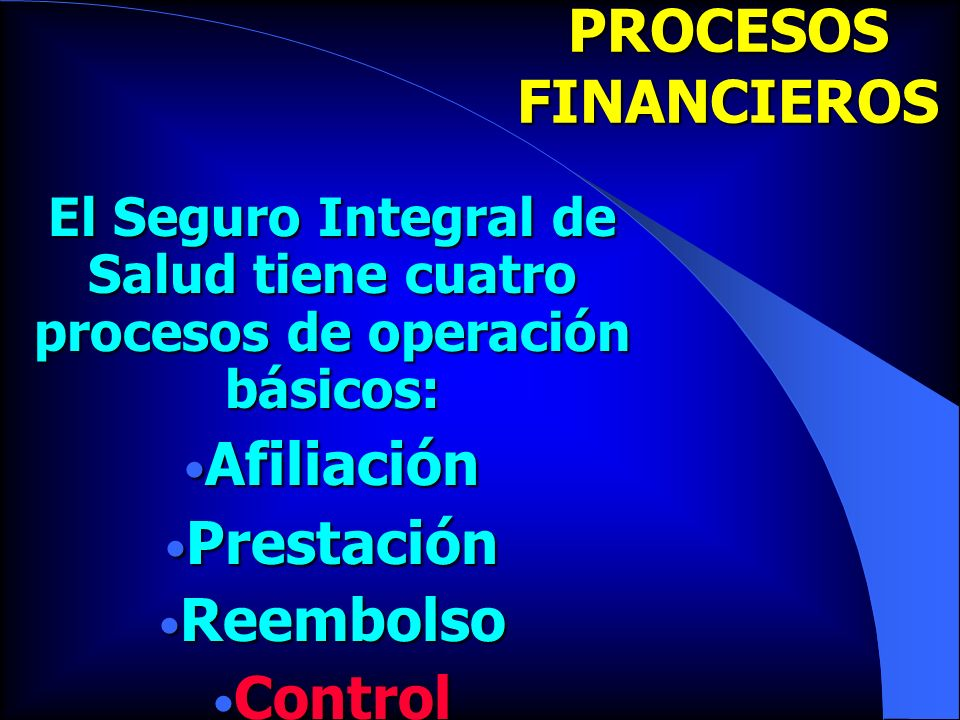 PROCESOS FINANCIEROS Afiliación Prestación Reembolso Control