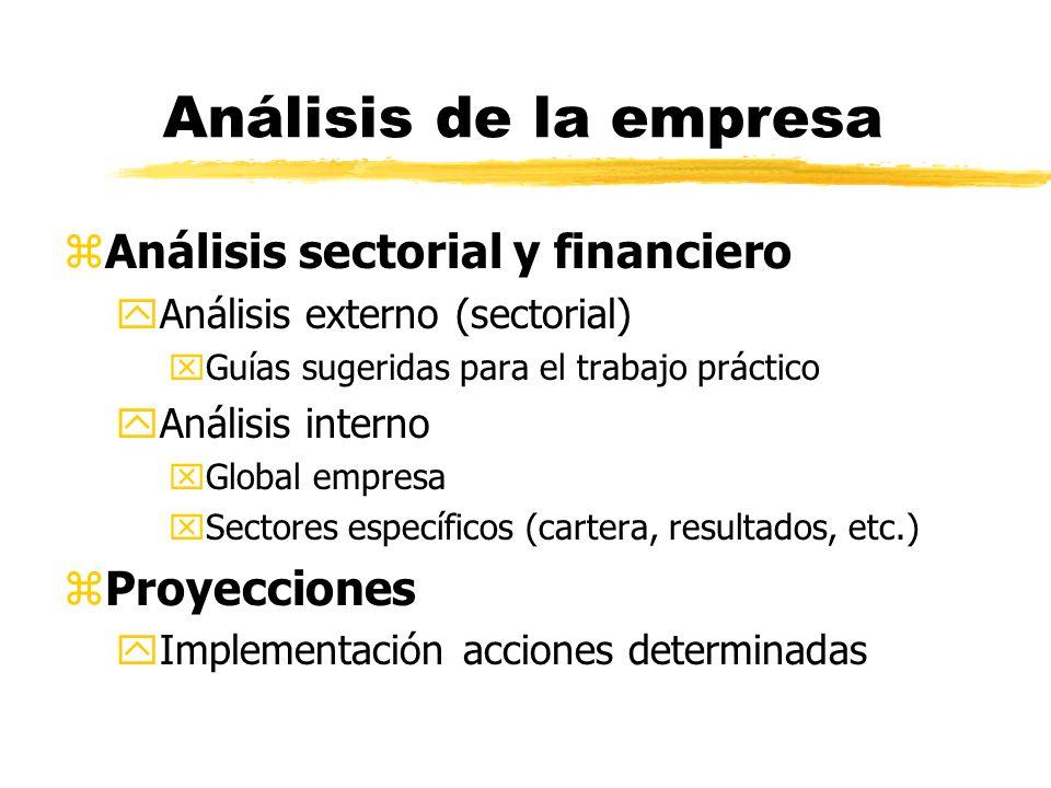 Análisis de la empresa Análisis sectorial y financiero Proyecciones