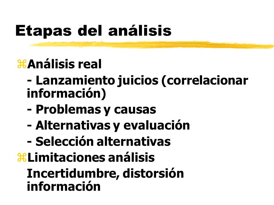 Etapas del análisis Análisis real