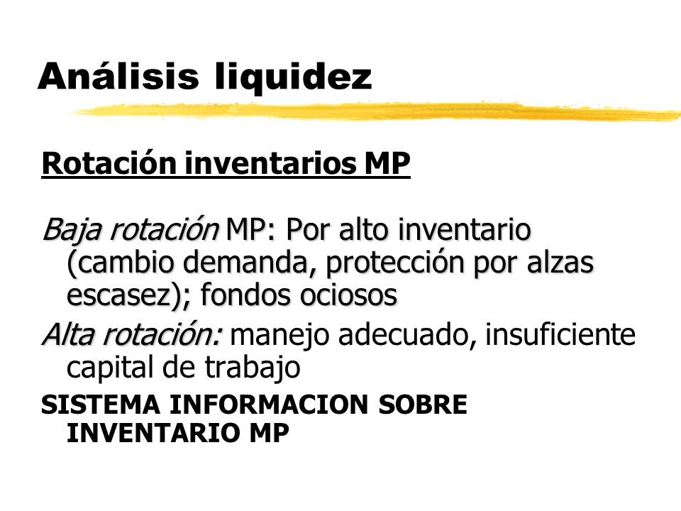 Análisis liquidez Rotación inventarios MP