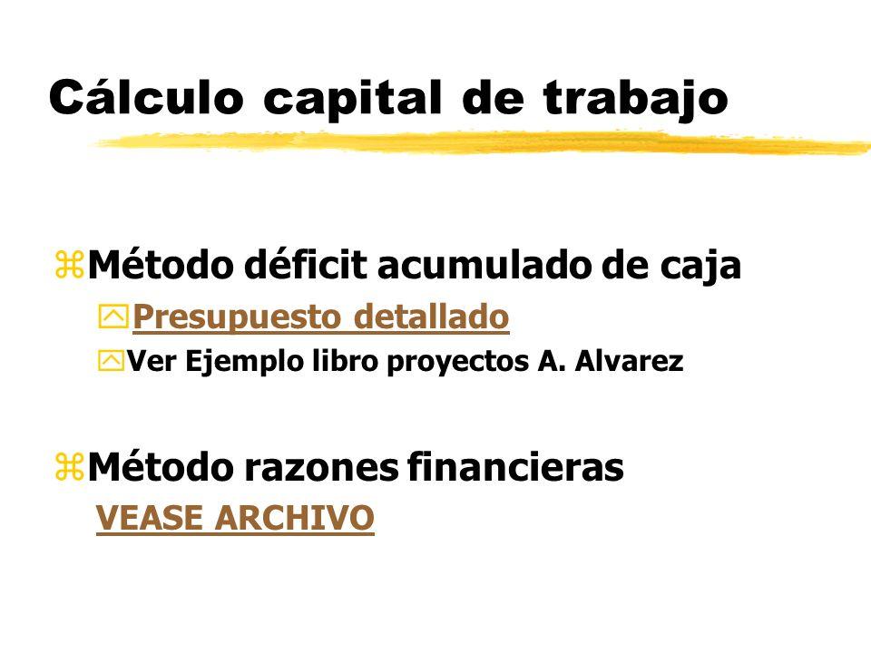 Cálculo capital de trabajo