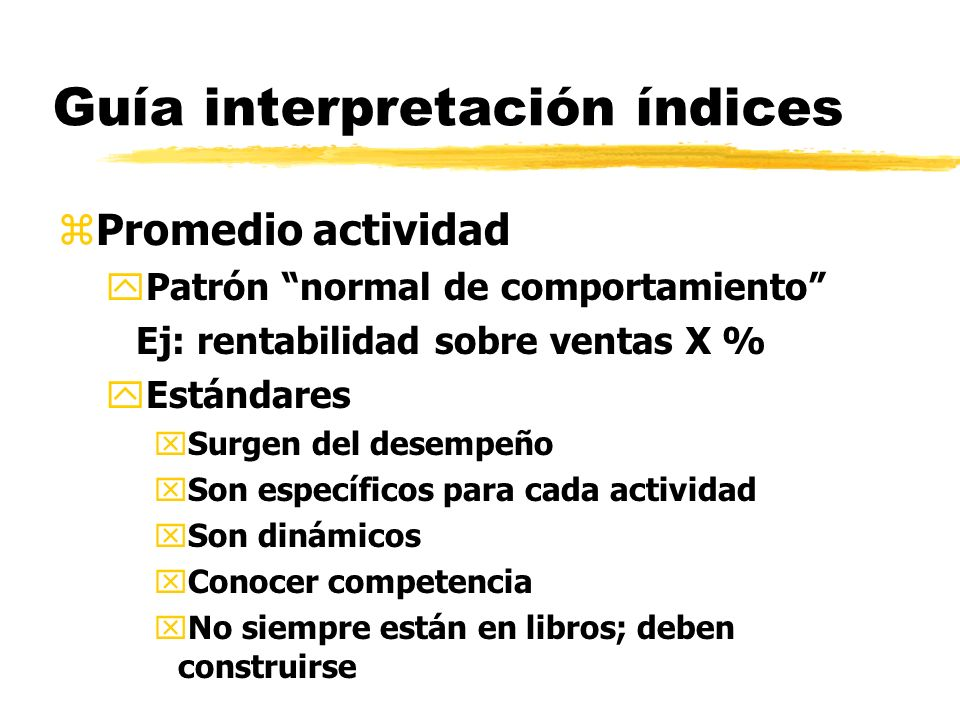 Guía interpretación índices