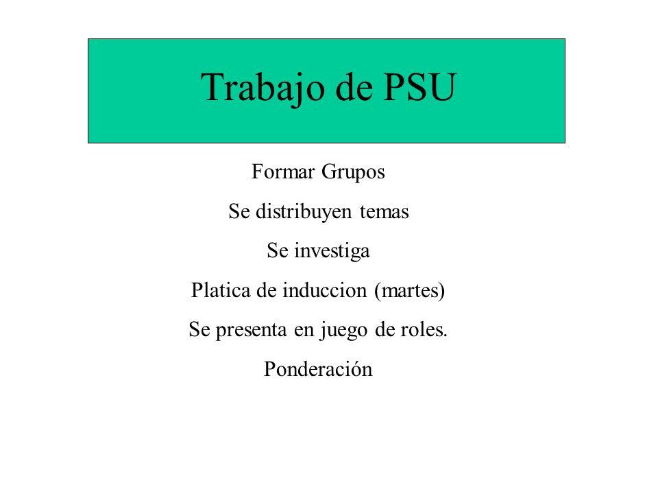 Trabajo de PSU Formar Grupos Se distribuyen temas Se investiga