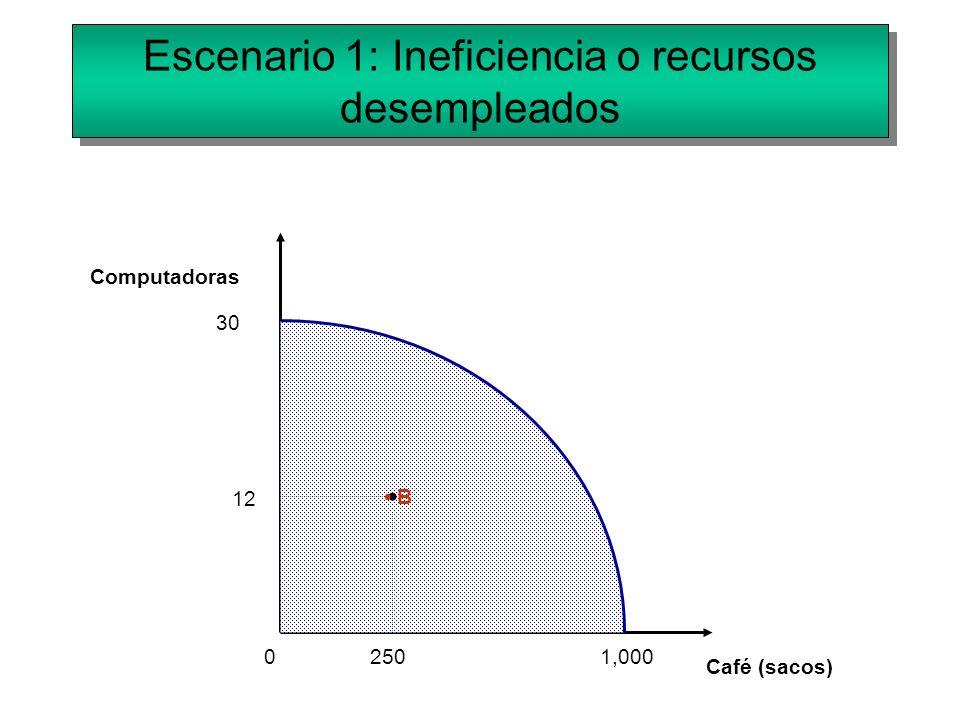 Escenario 1: Ineficiencia o recursos desempleados