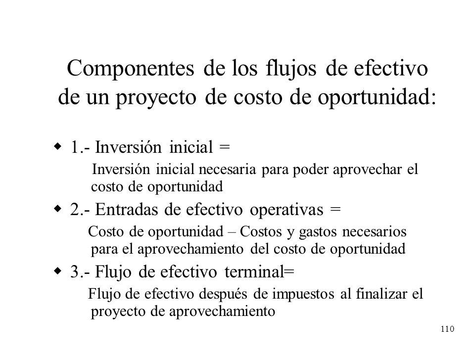 Componentes de los flujos de efectivo de un proyecto de costo de oportunidad: