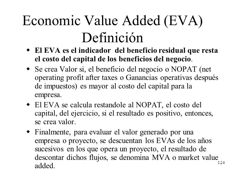 Economic Value Added (EVA) Definición