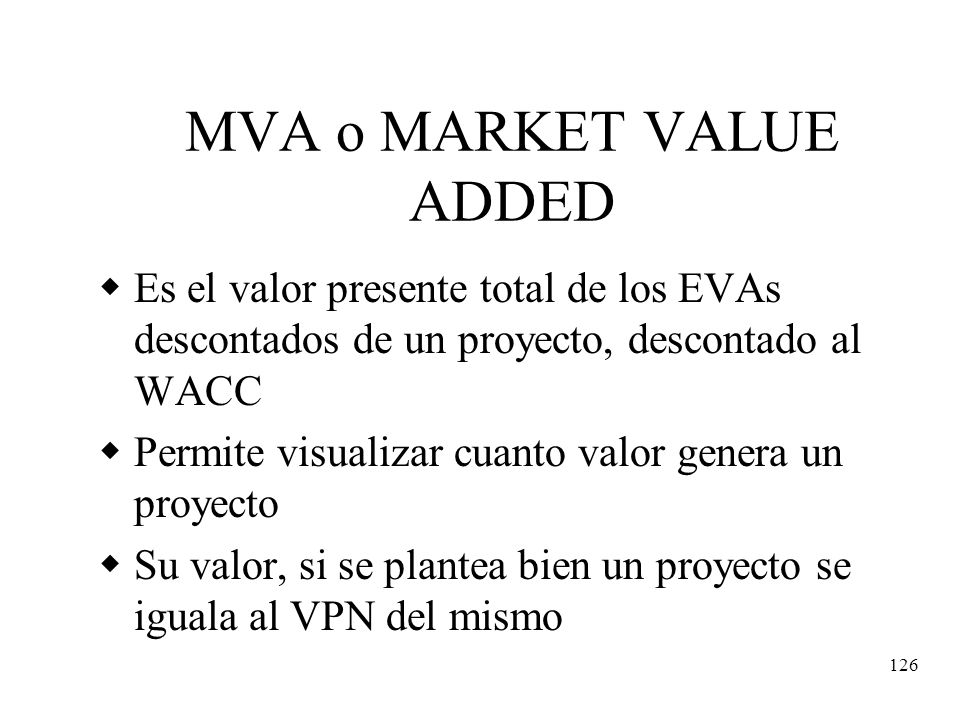 MVA o MARKET VALUE ADDED