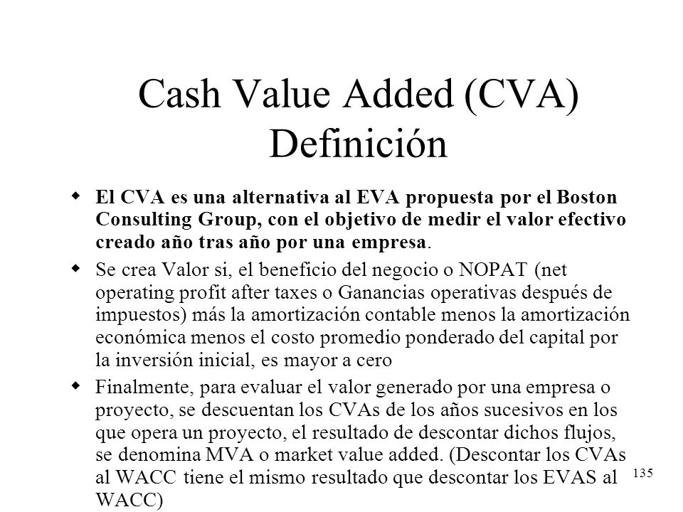 Cash Value Added (CVA) Definición