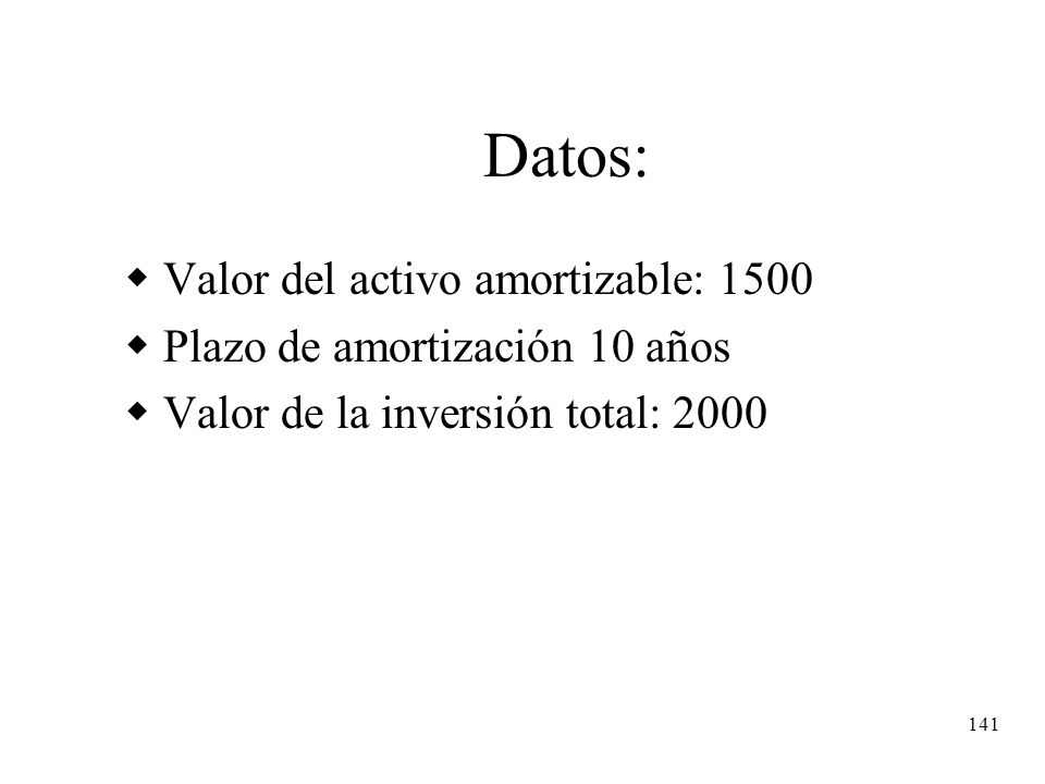 Datos: Valor del activo amortizable: 1500