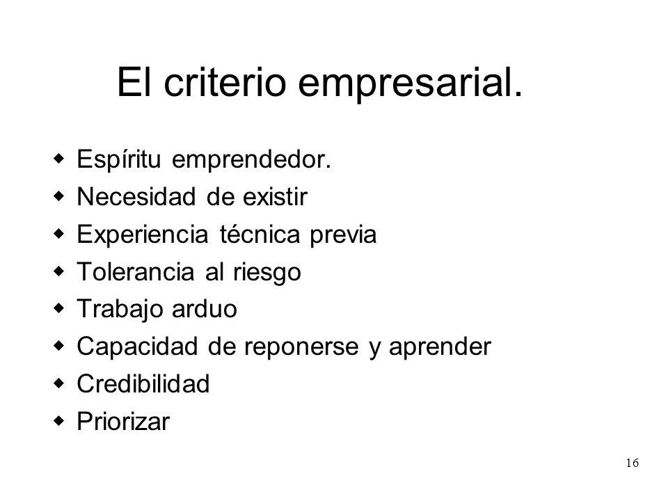 El criterio empresarial.