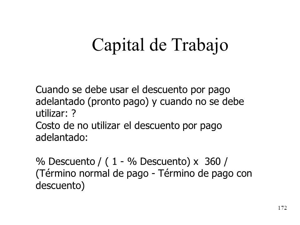 Capital de Trabajo Cuando se debe usar el descuento por pago adelantado (pronto pago) y cuando no se debe utilizar: