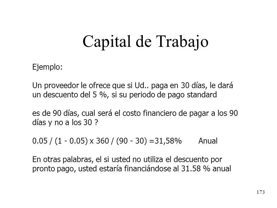 Capital de Trabajo Ejemplo: