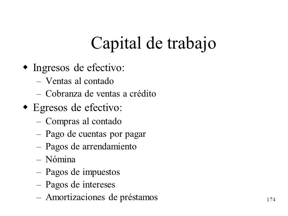 Capital de trabajo Ingresos de efectivo: Egresos de efectivo: