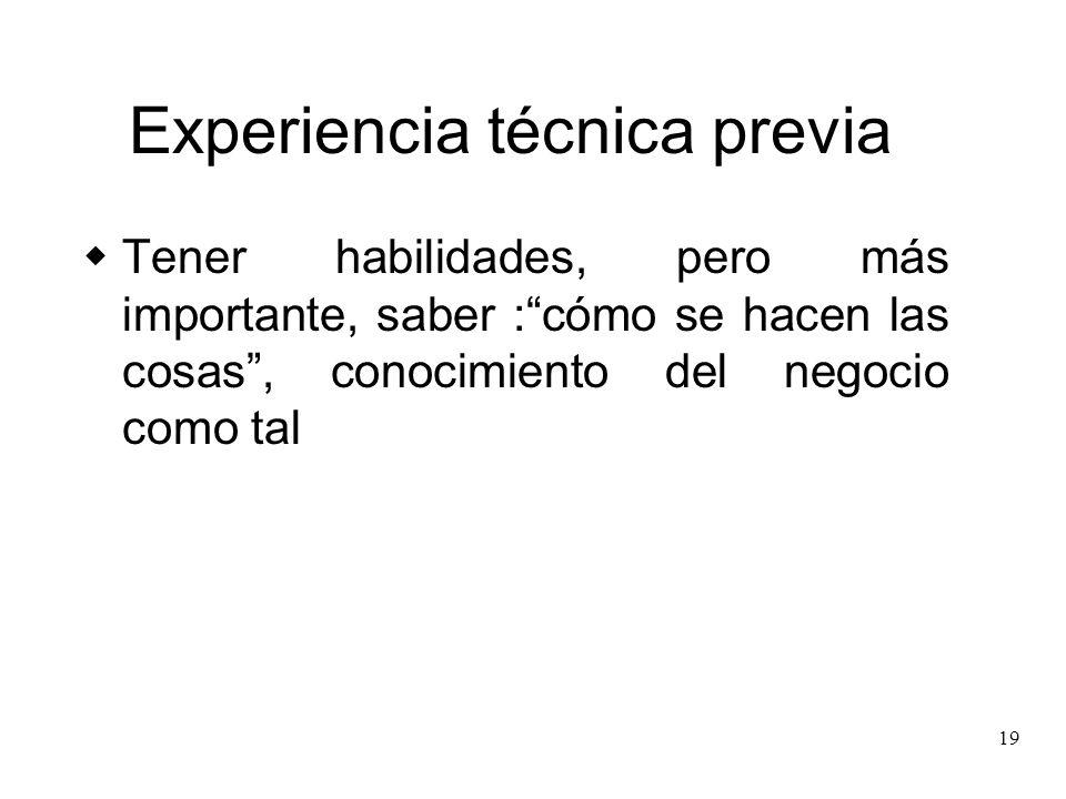 Experiencia técnica previa