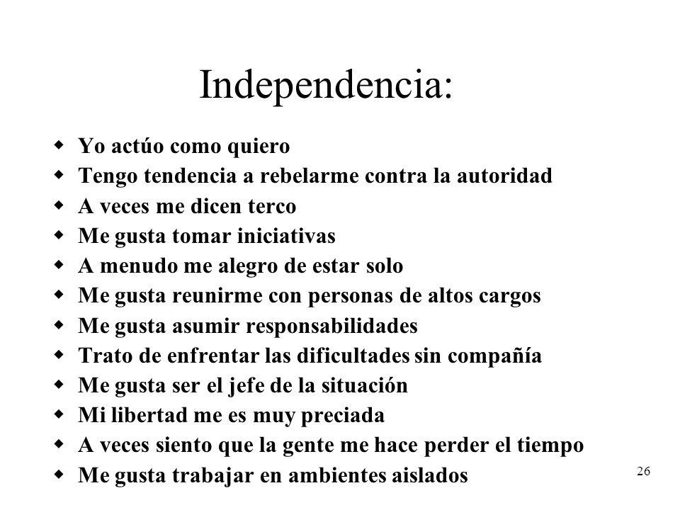Independencia: Yo actúo como quiero