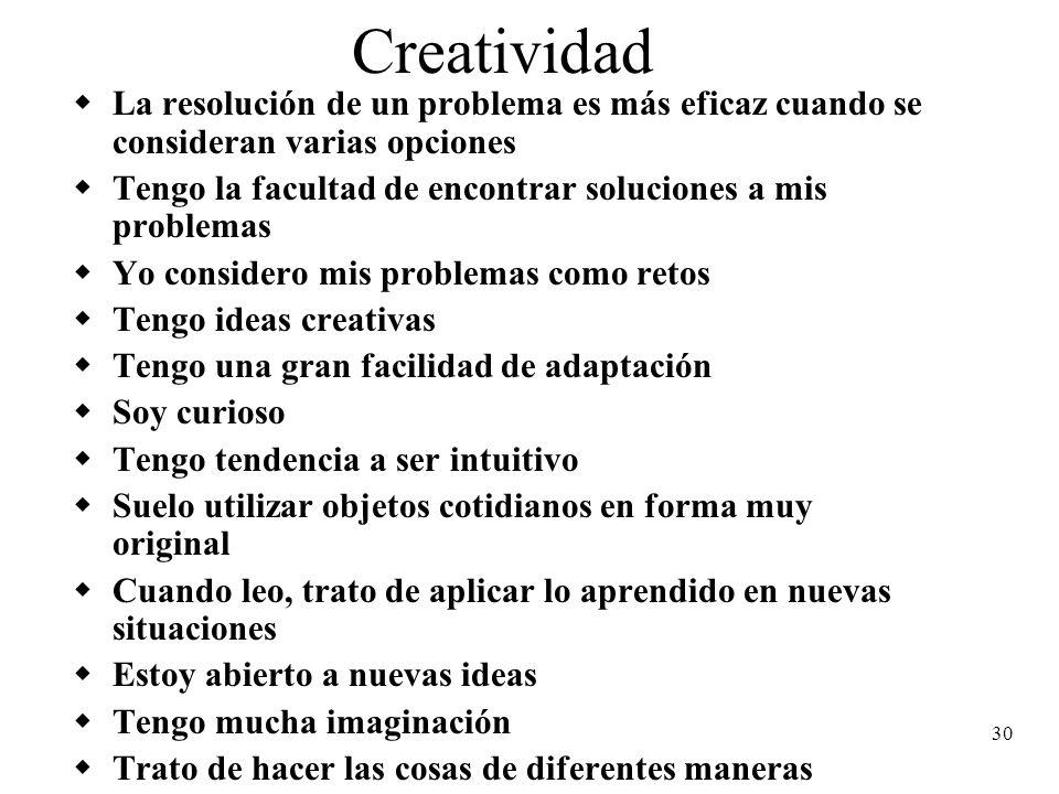 Creatividad La resolución de un problema es más eficaz cuando se consideran varias opciones.