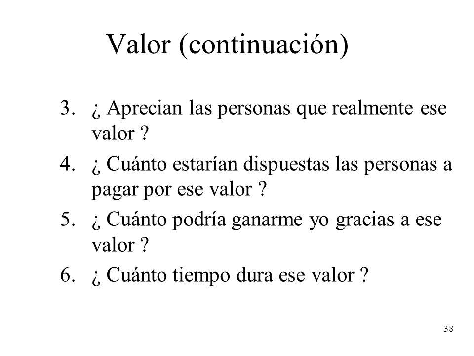 Valor (continuación) ¿ Aprecian las personas que realmente ese valor