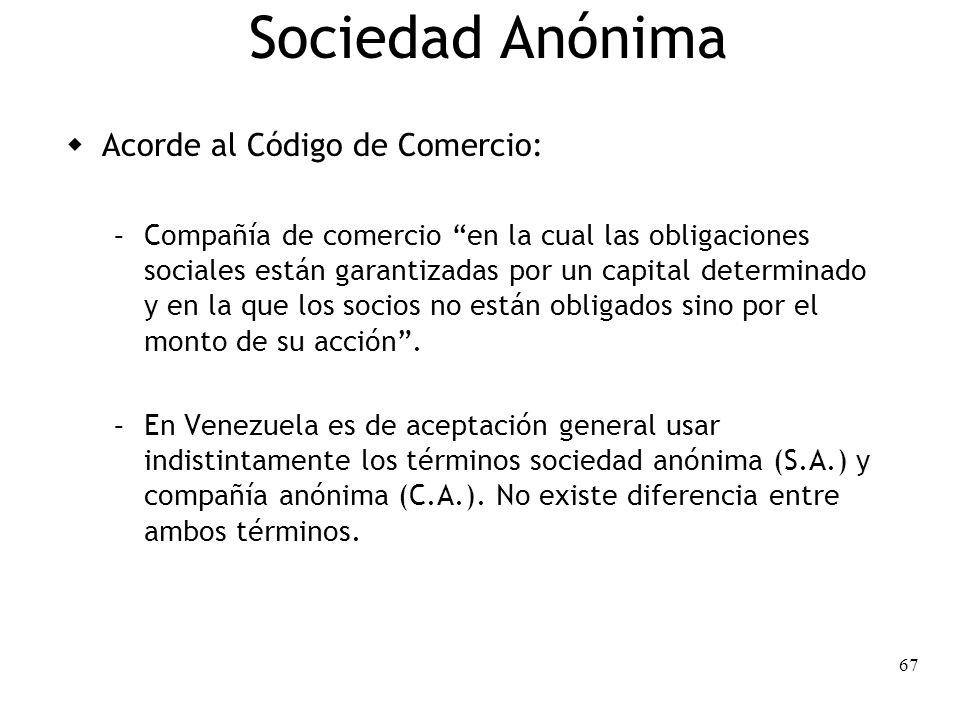 Sociedad Anónima Acorde al Código de Comercio: