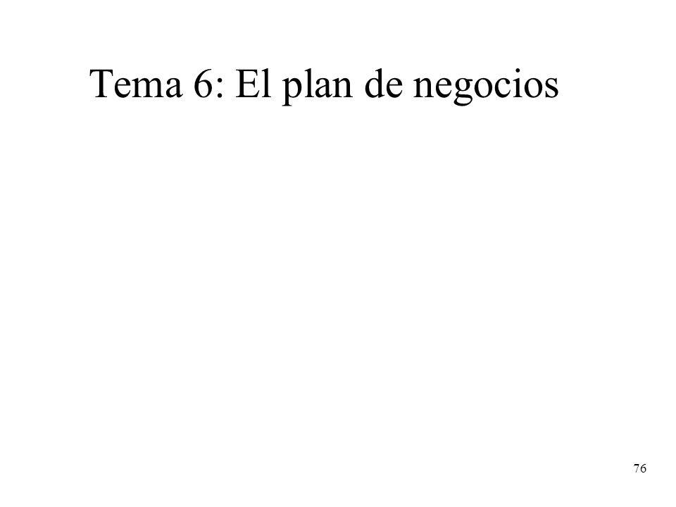 Tema 6: El plan de negocios