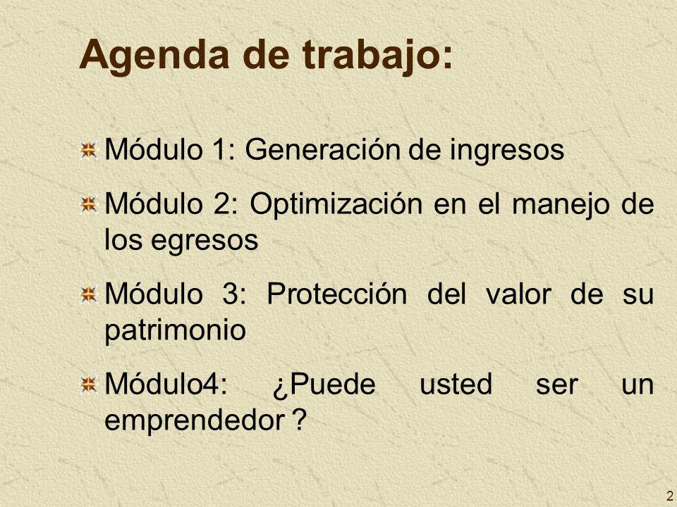 Agenda de trabajo: Módulo 1: Generación de ingresos