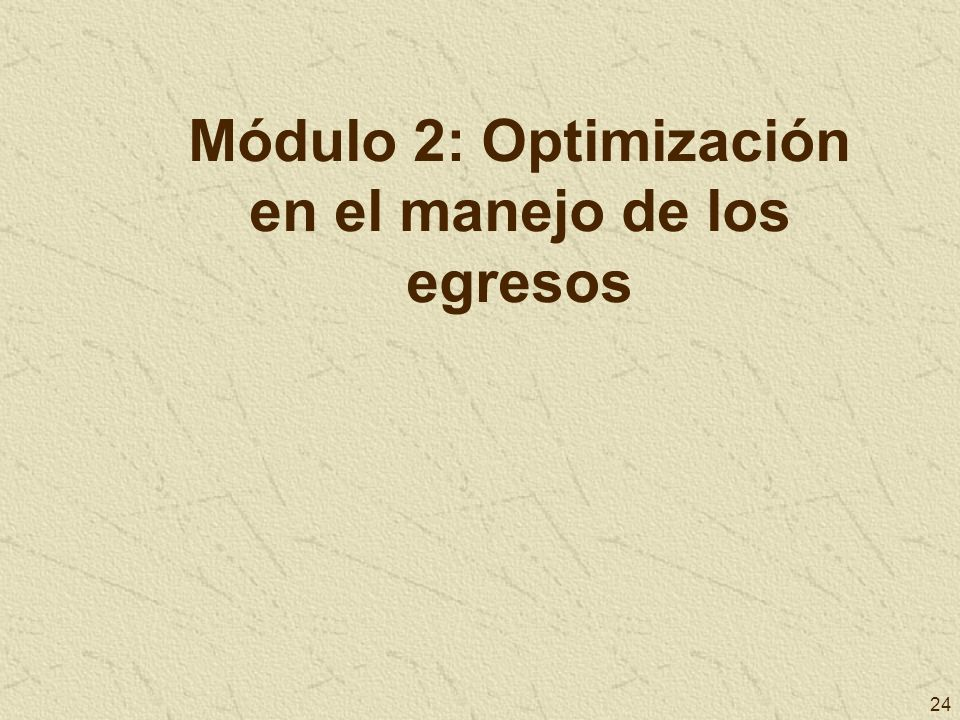 Módulo 2: Optimización en el manejo de los egresos