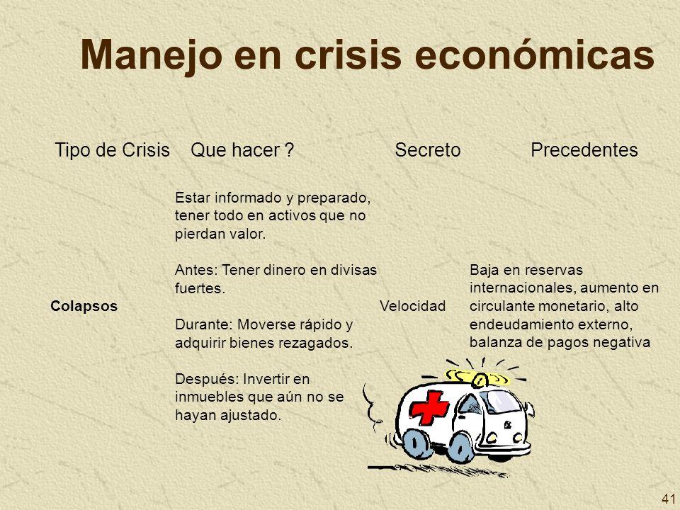 Manejo en crisis económicas