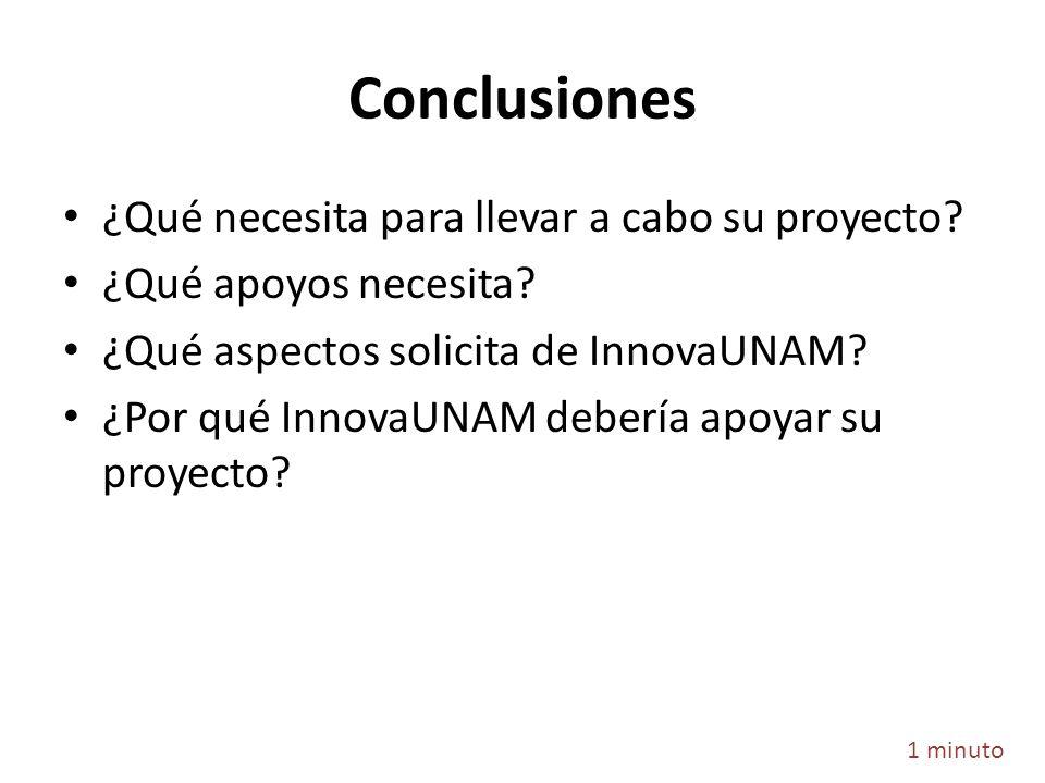 Conclusiones ¿Qué necesita para llevar a cabo su proyecto