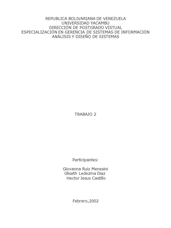REPUBLICA BOLIVARIANA DE VENEZUELA UNIVERSIDAD YACAMBU