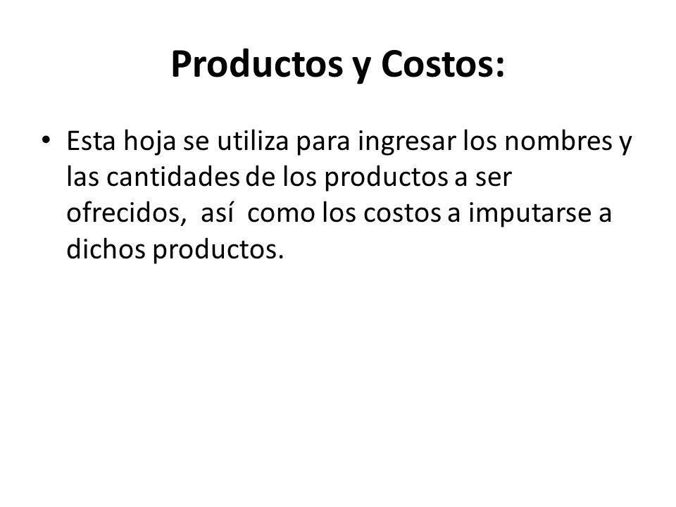 Productos y Costos: