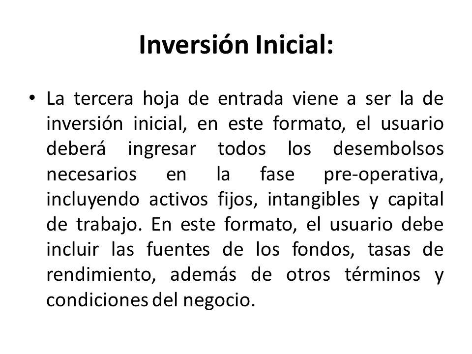 Inversión Inicial: