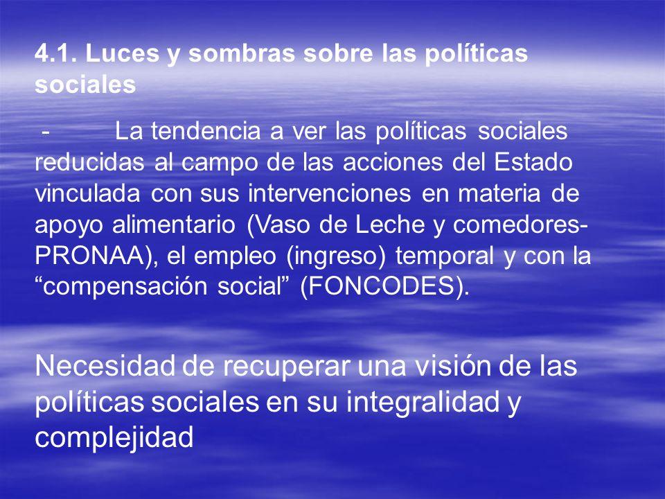 4.1. Luces y sombras sobre las políticas sociales