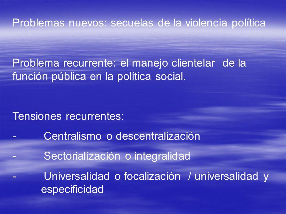 Problemas nuevos: secuelas de la violencia política