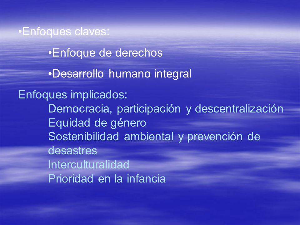 Enfoques claves:Enfoque de derechos. Desarrollo humano integral.