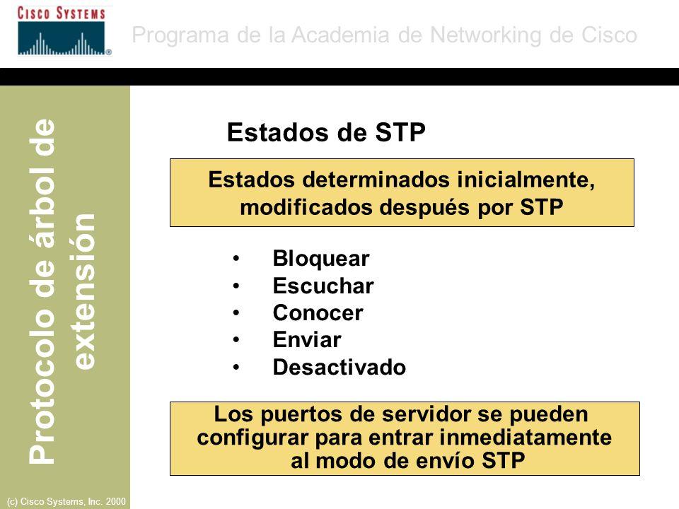 Estados determinados inicialmente, modificados después por STP