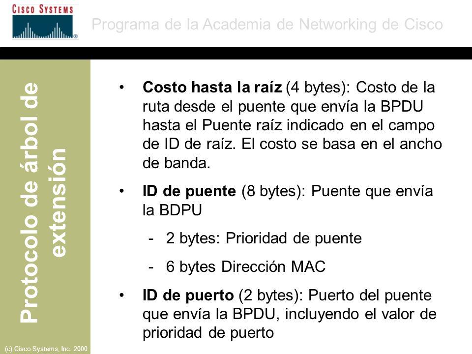 Costo hasta la raíz (4 bytes): Costo de la ruta desde el puente que envía la BPDU hasta el Puente raíz indicado en el campo de ID de raíz. El costo se basa en el ancho de banda.