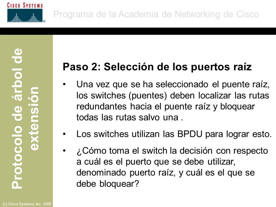 Paso 2: Selección de los puertos raíz
