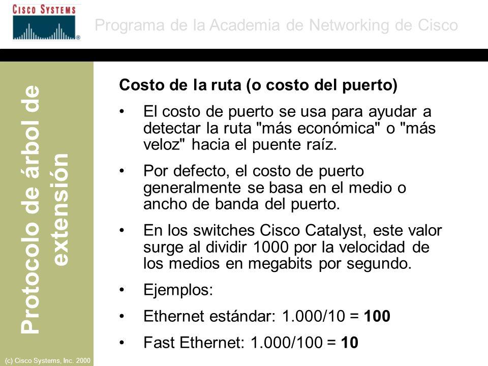 Costo de la ruta (o costo del puerto)