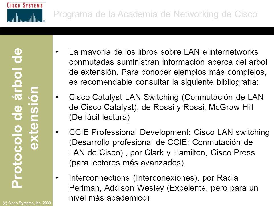 La mayoría de los libros sobre LAN e internetworks conmutadas suministran información acerca del árbol de extensión. Para conocer ejemplos más complejos, es recomendable consultar la siguiente bibliografía: