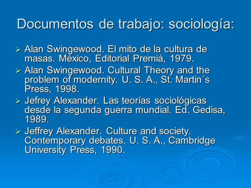 Documentos de trabajo: sociología: