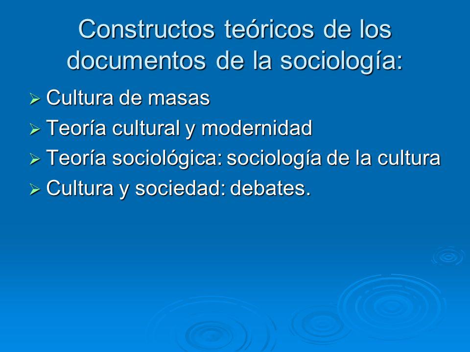 Constructos teóricos de los documentos de la sociología: