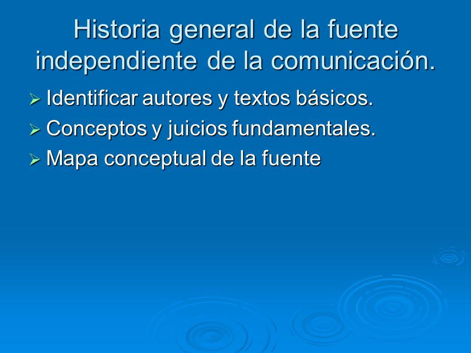 Historia general de la fuente independiente de la comunicación.