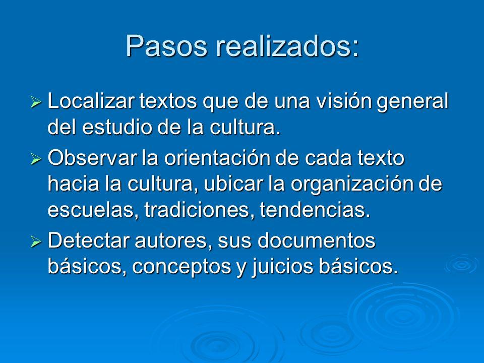 Pasos realizados: Localizar textos que de una visión general del estudio de la cultura.