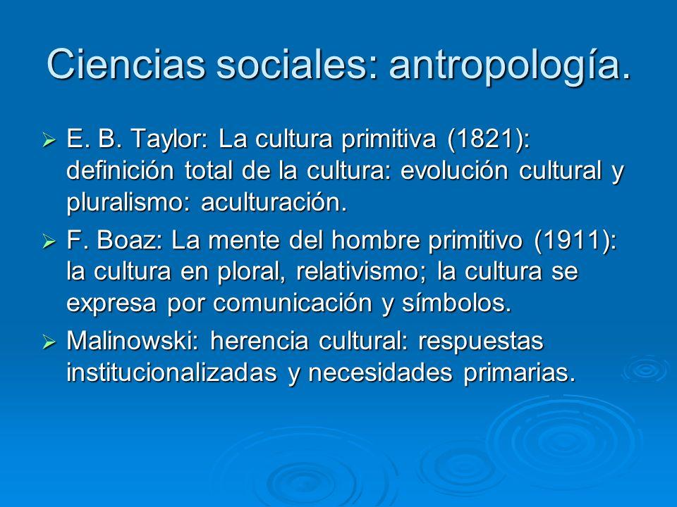 Ciencias sociales: antropología.