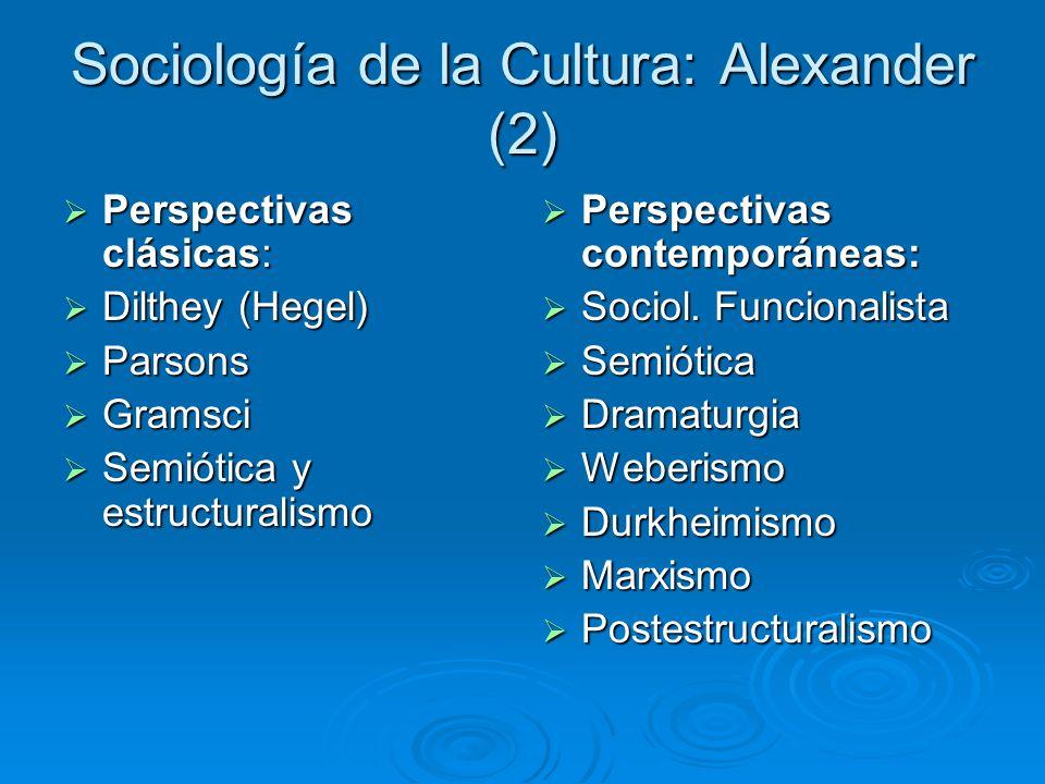 Sociología de la Cultura: Alexander (2)